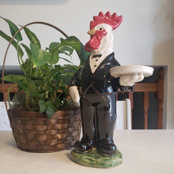 Vintage Other - Vintage hand painted ceramic butler rooster